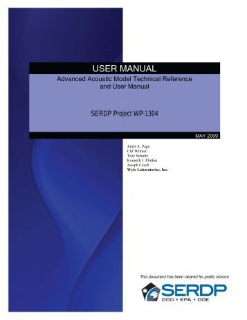 User's Manual - Strategic Environmental Research and ...