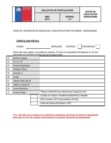 SERVICIO NACIONAL DE GEOLOGIA Y MINERIA - Sernageomin