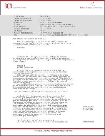 Reglamento del código de minería - Sernageomin