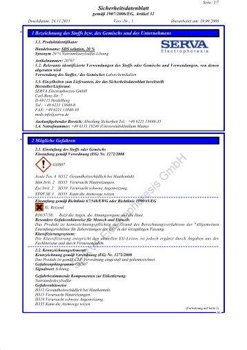 Sicherheitsdatenblatt - SERVA Electrophoresis GmbH