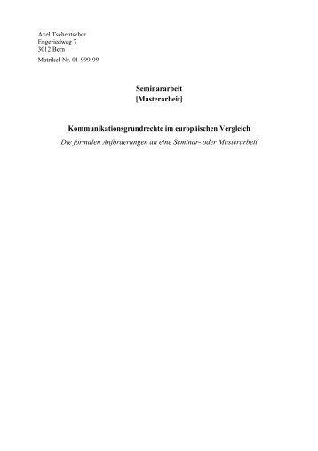 Seminararbeit [Masterarbeit] - servat.unibe.ch - Universität Bern