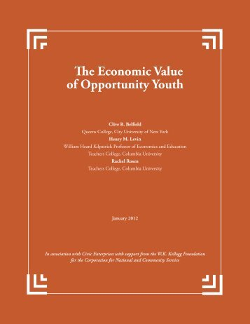 The Economic Value of Opportunity Youth - United We Serve