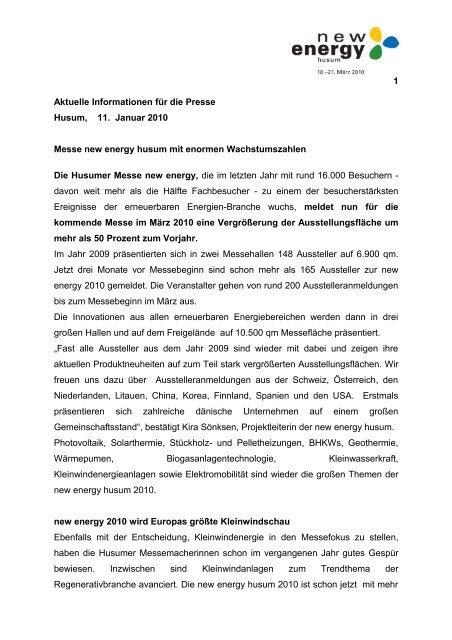 1 Aktuelle Informationen für die Presse Husum, 11. Januar 2010 ...
