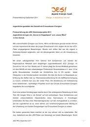 Pressemitteilung September 2011 Jugendliche gestalten die Zukunft ...