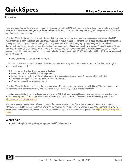 HP Insight Control suite for Linux - Server-Unit