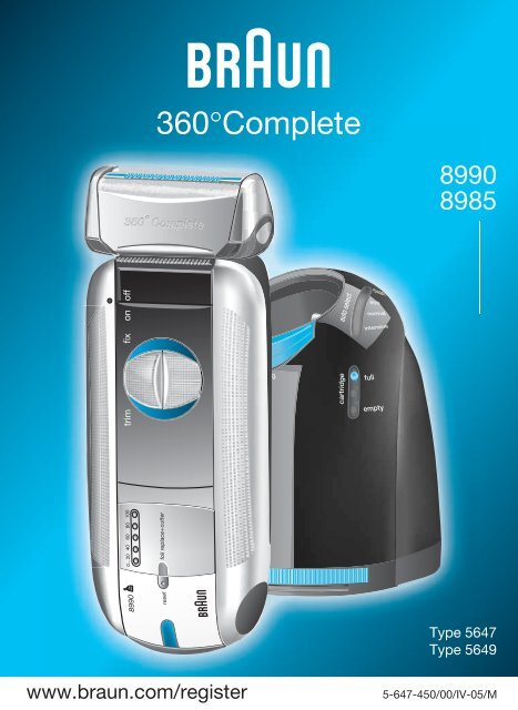 8990, 8985 360°Complete - Braun Consumer Service spare parts ...