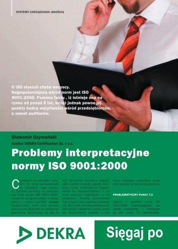 Problemy interpretacyjne normy ISO 9001:2000 - Dekra