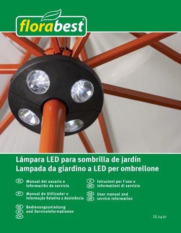 Lámpara LED para sombrilla de jardín Lampada da giardino a LED ...