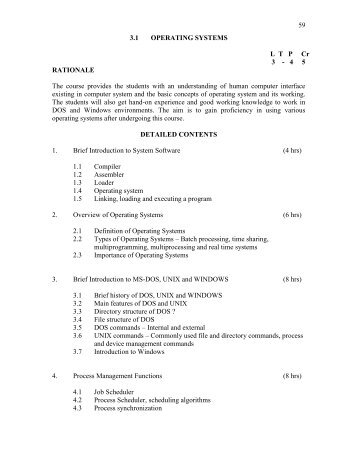 59 3.1 OPERATING SYSTEMS L  T   P     Cr 3 - 4 5 RATIONALE The ...