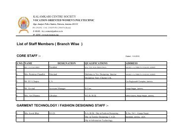 List of Staff Members ( Branch Wise ) - Kalamkari Center Society
