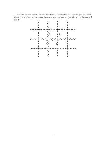 An infinite number of identical resistors are connected in a square ...