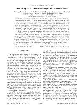 ENDOR study of Cr3¿ centers substituting for lithium in lithium niobate