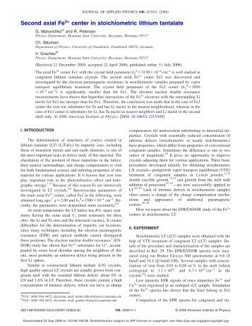 Second axial Fe3+ center in stoichiometric lithium ... - ResearchGate