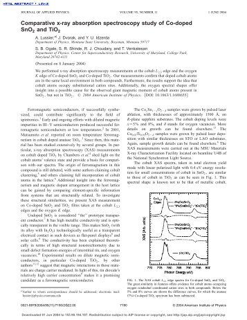 Comparative x-ray absorption spectroscopy study of Co-doped ...