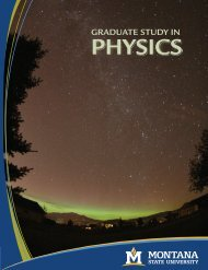 Graduate Brochure - Department of Physics - Montana State University