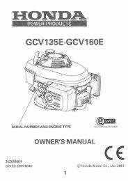 Honda GCV135 GCV160 Engine Manual - Service Link