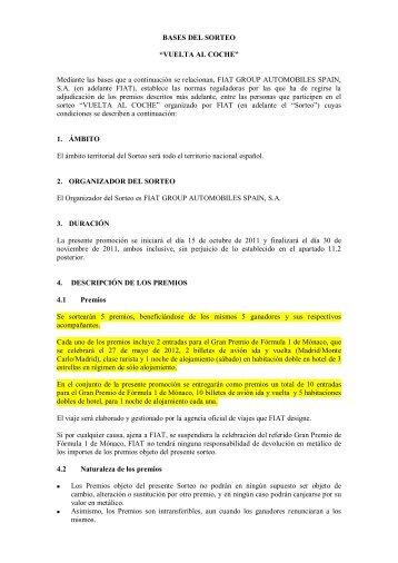 "BASES DEL SORTEO ""VUELTA AL COCHE ... - Servicios Fiat"