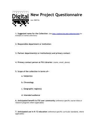 Questionnaire for project?