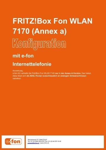 FRITZ!Box Fon WLAN 7170 (Annex a) - E-Fon