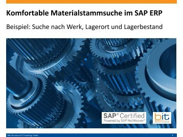 Komfortable Suche nach Material mit Lagerbestand - SAP ERP (MM)