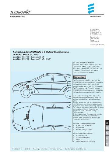 Aufrüstung der HYDRONIC D 5 W Z zur Standheizung im ... - SoeAuto