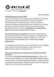 Linz, am 18.03.2013 Stand der Dinge Verein servus.at 2013
