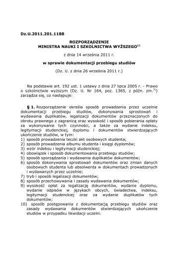 Rozporządzenie Ministra Nauki i Szkolnictwa Wyższego z dnia 14 ...