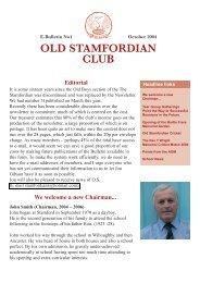 OLD STAMFORDIAN CLUB - Stamford Endowed Schools
