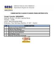 candidatos convocados para entrevista - Portal do SESC-AM