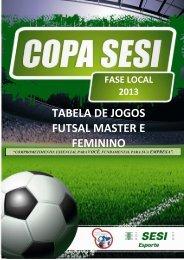tabela de jogos - futsal master e feminino - pzo - SESI - Esporte