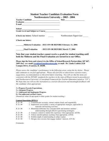 Edsc Student Teaching Midterm Evaluation Form Sti