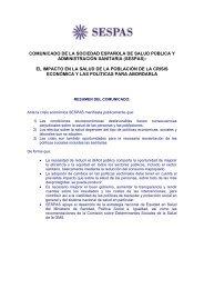 COMUNICADO DE LA SOCIEDAD ESPAÑOLA DE SALUD ... - Sespas