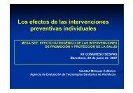 Los efectos de las intervenciones preventivas individuales - Sespas