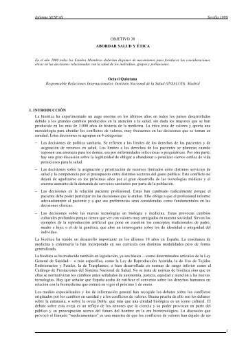Informe SESPAS Sevilla 1999 1 OBJETIVO 38 ABORDAR SALUD Y ...