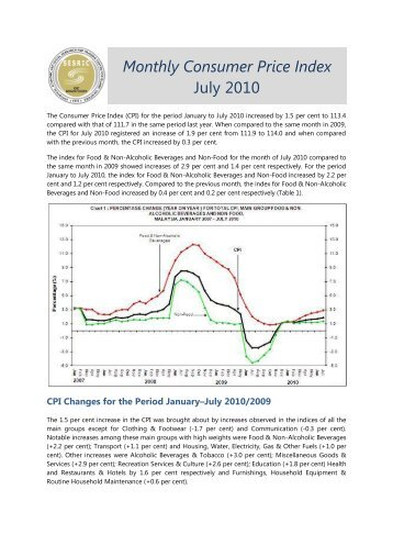Monthly Consumer Price Index July 2010