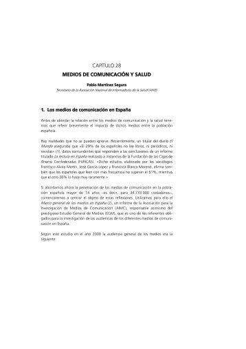 CAPÍTULO 28 MEDIOS DE COMUNICACIÓN Y SALUD - Sespas