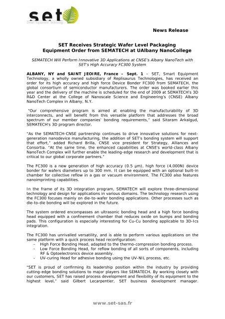 www set-sas fr News Release SET Receives Strategic Wafer Level