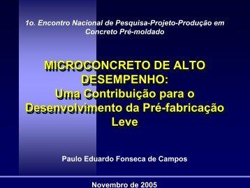 MICROCONCRETO DE ALTO DESEMPENHO: Uma ... - SET