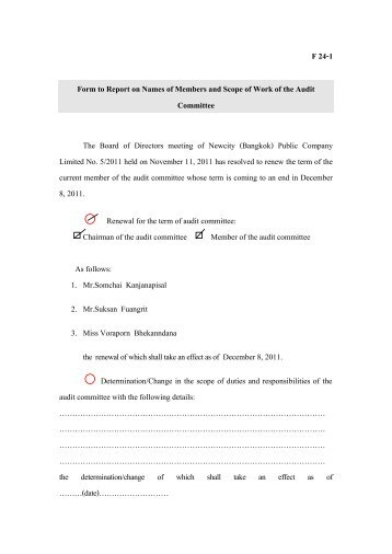 Form to Report on Names of Members and Scope of Work of the ...