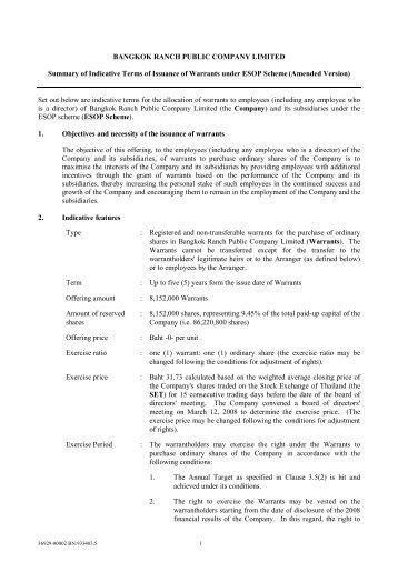 BANGKOK RANCH PUBLIC COMPANY LIMITED Summary of ...