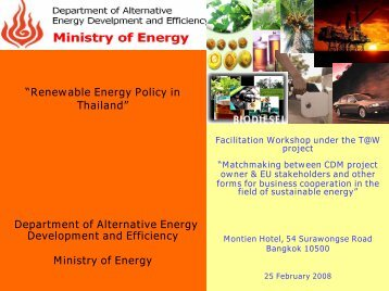 Renewable Energy Policy in Thailand - SETatWork - Sustainable ...