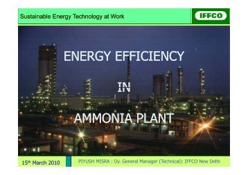 energy efficiency in ammonia plant - SETatWork - Sustainable ...