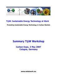 Summary T@W Workshop - SETatWork - Sustainable Energy ...