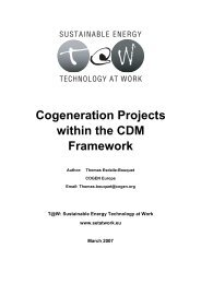 Cogeneration Projects within the CDM Framework - SETatWork ...
