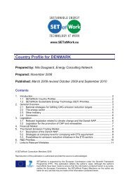 Denmark Country Profile Report - SETatWork - Sustainable Energy ...