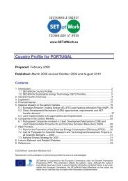 Portugal Country Profile Report - SETatWork - Sustainable Energy ...