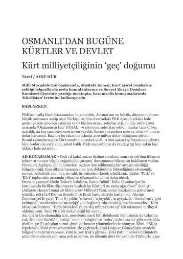 OSMANLI'DAN BUGÜNE KÜRTLER VE DEVLET Kürt ... - SETA