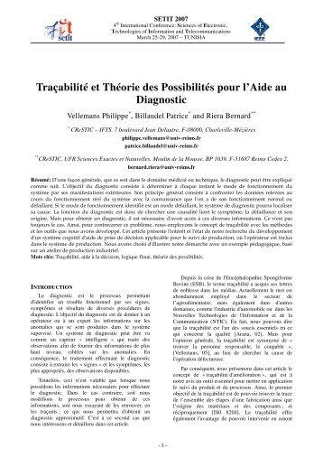 Traçabilité et Théorie des Possibilités pour l'Aide au Diagnostic
