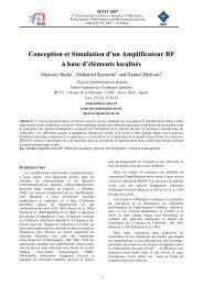 Conception et Simulation d'un Amplificateur RF à base d'éléments ...