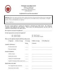 Teacher Recommendation Forms - Elizabeth Seton High School